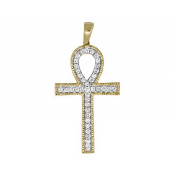 0.85 CT. Ankh Cross Diamond Pendant in 10K Yellow Gold
