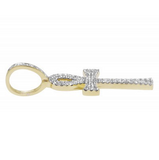 1.30 CT. Flared Ankh Cross Diamond Pendant in 10K Yellow Gold
