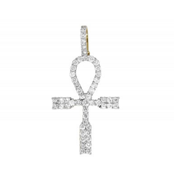 1.25 CT. Ankh Cross Diamond Pendant in 10K Yellow Gold