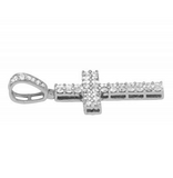 1.44 CT. Two Row Diamond Cross Pendant in 10K White Gold