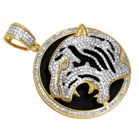 1.35 CT. Tiger Diamond Medallion Pendant in 10K Yellow Gold