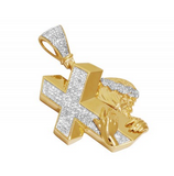 1.5 CT. Jesus Carrying Cross Diamond Pendant in 10K Yellow Gold