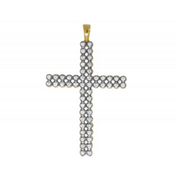 1.20 CT. Two Row Diamond Cross Pendant in 10K Gold