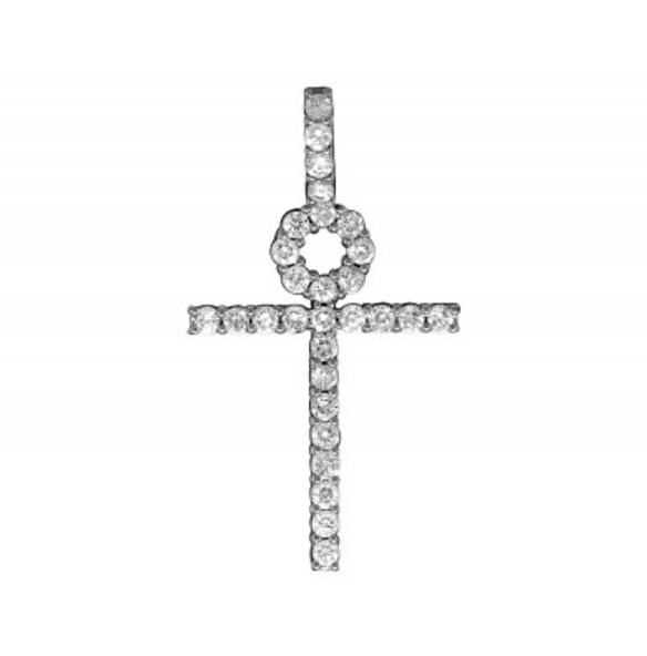 2.0 CT. Single Row Diamond Ankh Cross Pendant in 10K Yellow Gold