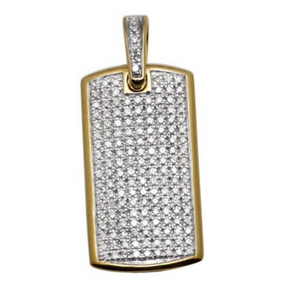 0.65 CT. Diamond Dog Tag Pendant in 10K Yellow Gold