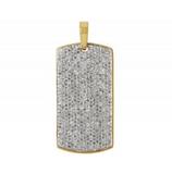 2.0 CT. Diamond Dog Tag Pendant in 10K Yellow Gold
