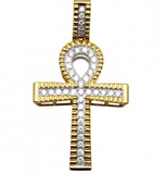 1.20 CT. Raised Diamond Ankh Cross Pendant in 10K Yellow Gold
