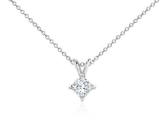 1/2 CT. Princess-Cut Diamond Solitaire Pendant in 14K White Gold