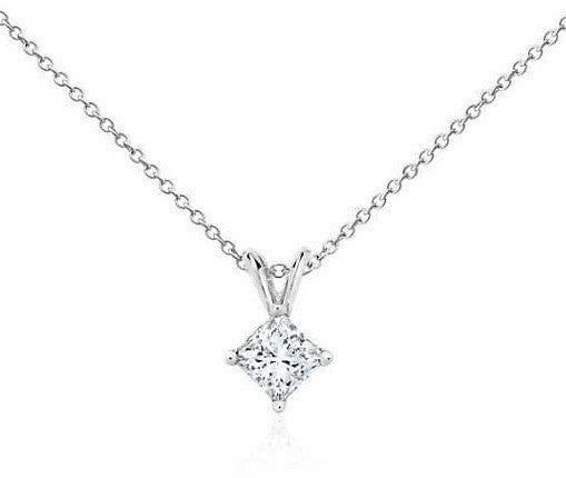 3/4 CT. Princess-Cut Diamond Solitaire Pendant in 14K White Gold