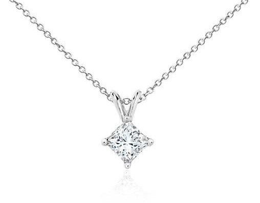 1 CT. Princess-Cut Diamond Solitaire Pendant in 14K White Gold