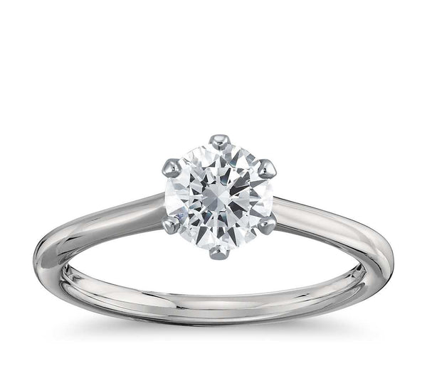 0.50 CT. Six-Claw Solitaire Diamond Ring in White Gold