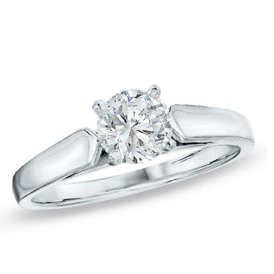 0.30 CT. Diamond Solitaire Crown Royal Engagement Ring in 14K White Gold