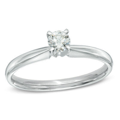 0.30 CT. Diamond Solitaire Engagement Ring in 14K White Gold