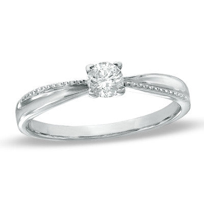 0.16 CT. Diamond Solitaire Tapered Ring in 10K White Gold
