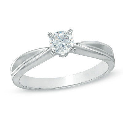 0.30 CT. Tapered Diamond Solitaire Engagement Ring in 14K White Gold