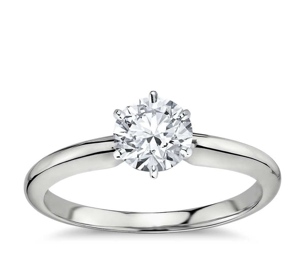 0.50 CT. Classic Six-Claw Solitaire Engagement Ring in White Gold