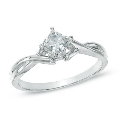 0.40 CT. Princess-Cut Diamond Solitaire Engagement Ring in 14K White Gold