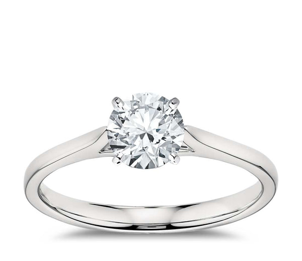 1.00 CT. Petite Cathedral Solitaire Engagement Ring in White Gold