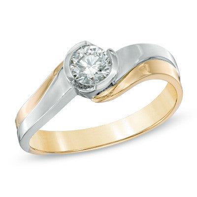 0.40 CT. Two-Tone Diamond Solitaire Engagement Ring in 14K White & Yellow Gold