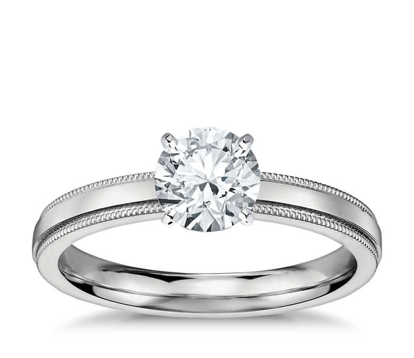 0.50 CT. Milgrain Solitaire Engagement Ring in White Gold
