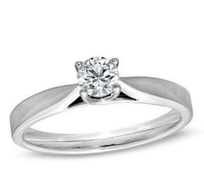 0.30 CT. Raised Diamond Engagement Ring in 14K White Gold