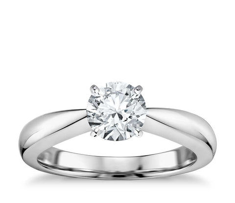 1.00 CT. Classic Tapered Four Claw Engagement Ring in White Gold