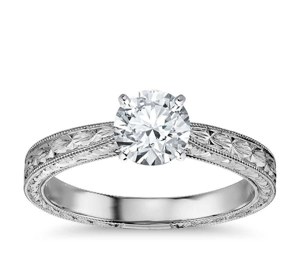 0.75 CT. Hand Engraved Solitaire Engagement Ring in White Gold
