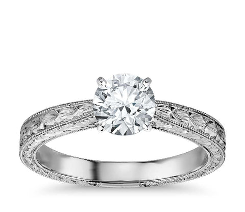 0.50 CT. Hand Engraved Solitaire Engagement Ring in White Gold