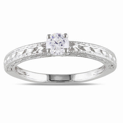 0.33 CT. Diamond Solitaire Engagement Ring in Patterned 14K White Gold