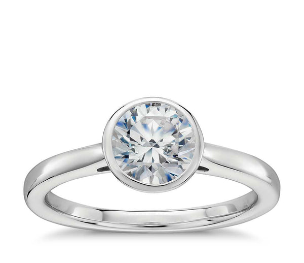 0.75 CT. Bezel Set Solitaire Engagement Ring in White Gold