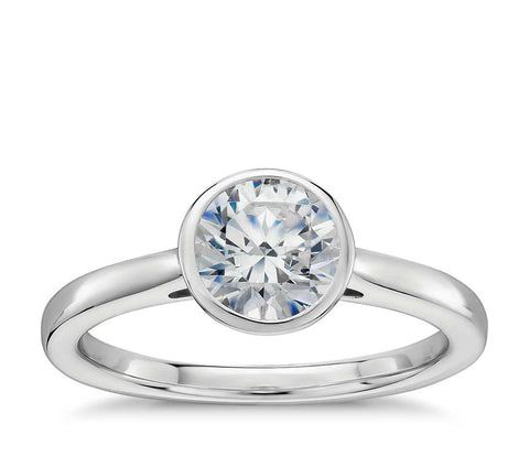 0.50 CT. Bezel Set Solitaire Engagement Ring in White Gold