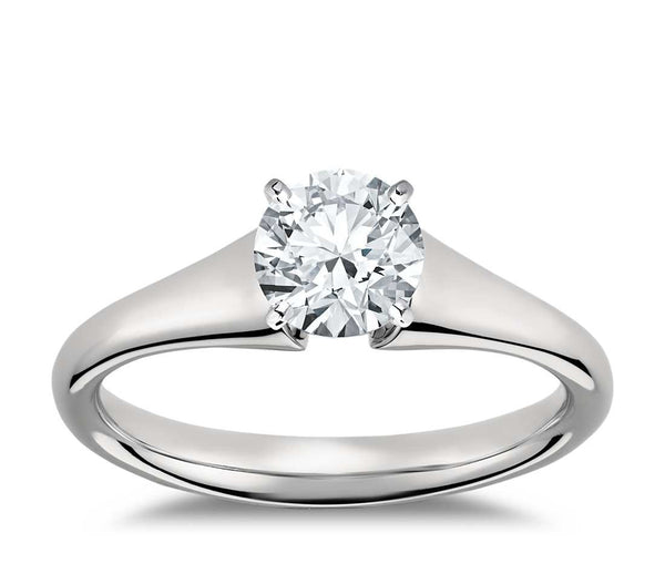 0.75 CT. Flared Solitaire Engagement Ring in White Gold