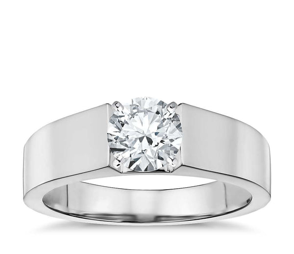 0.50 CT. Flat Solitaire Engagement Ring in White Gold