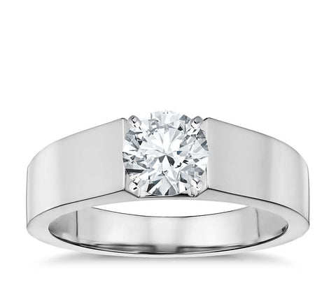 1.00 CT. Flat Solitaire Engagement Ring in White Gold