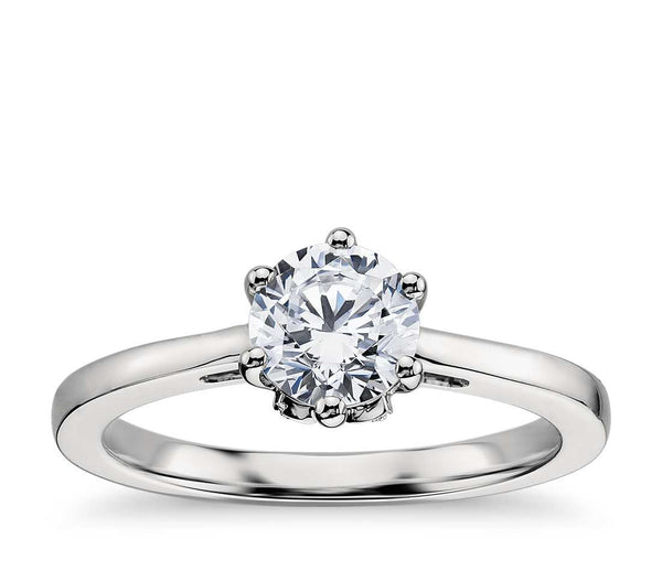 0.75 CT. Leaf Solitaire Engagement Ring in White Gold