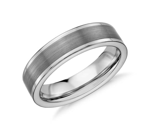 Satin Finished Tungsten Carbide Ring - Grey