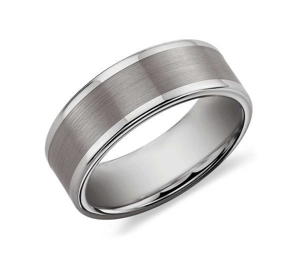 Satin Finished Tungsten Carbide Ring - Grey (Large)