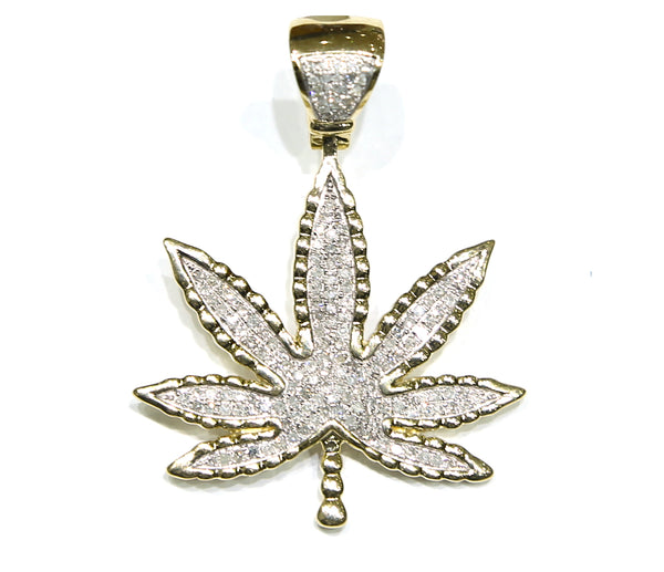 0.76 CT. Leaf Diamond Pendant in 10K Yellow Gold