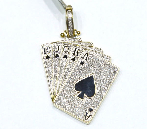 1.31 CT. Cards Diamond Pendant in 10K Yellow Gold