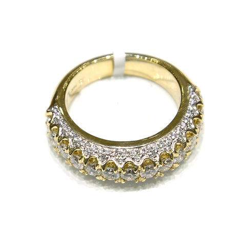 2.4 CT. Round Cut Micro-pave Diamond Ring in 10K Yellow Gold