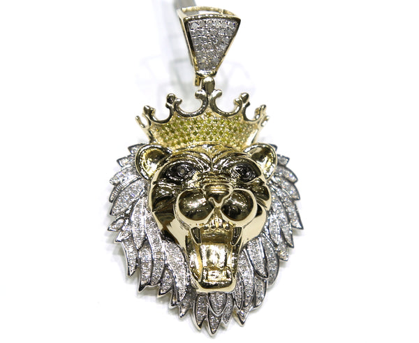 0.84 CT. Lion Diamond Pendant in 10K Yellow Gold