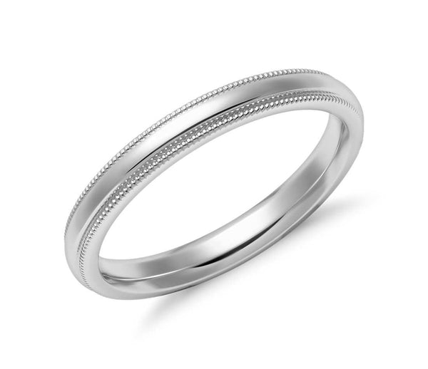 14K White Gold Classic Millgrain Wedding Band - 2.5mm