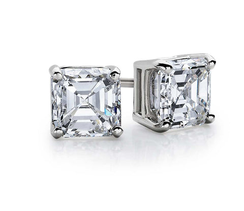 0.50 CT. - 1.00 CT. Asscher Diamond Studs in 14K White Gold