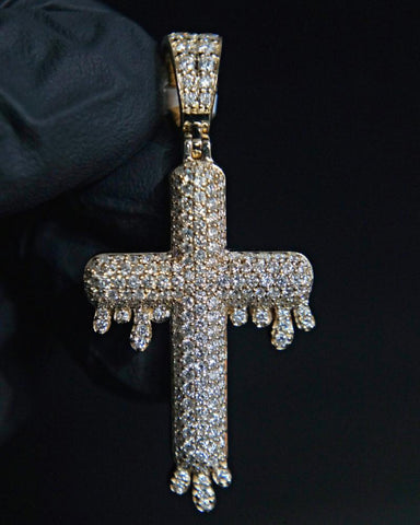 "3.00 Diamond ""Drip Cross"" Pendant in 14K Gold"