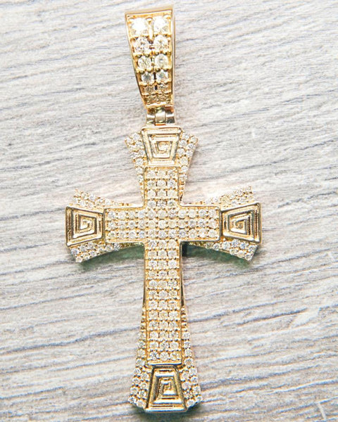 "1.55 CT. ""Elaborate Cross"" Pendant in 14K Gold*"