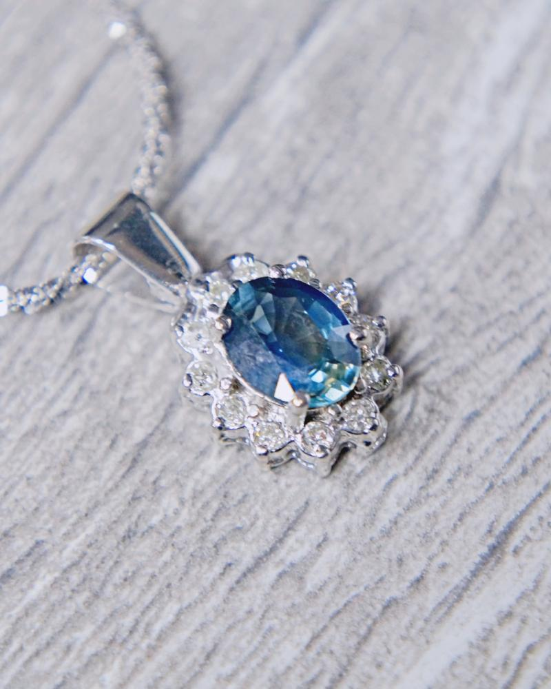 0861f7c2aed33 0.25 CT. Diamond/Sapphire Necklace in 14k White Gold