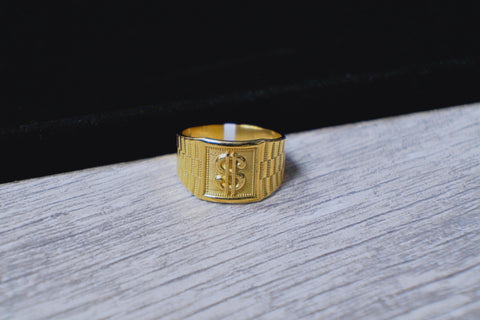 "Exclusive Men's Bold ""Dollar Sign"" Ring in 10K Gold"