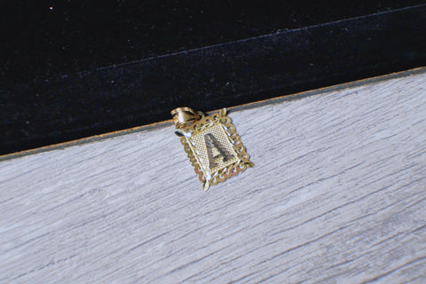 "Framed ""A"" Pendant in 10K Gold*"