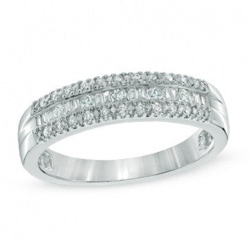 0.75 CT. Baguette and Round Diamond Band in White Gold