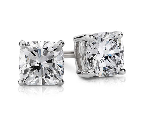 0.50 CT. - 1.00 CT. Cushion Diamond Studs in 14K White Gold